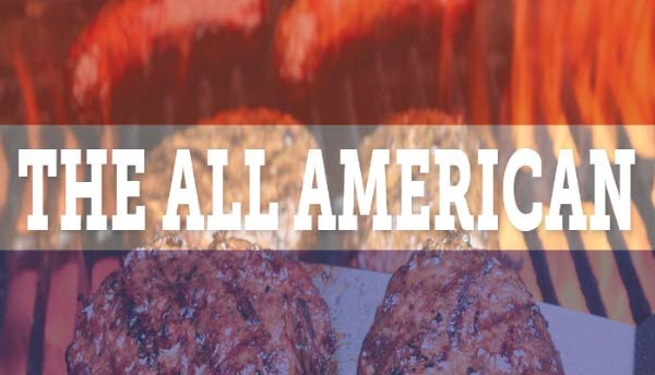 Image of burgers on a grill in the All American Bundle.