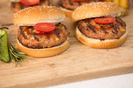 Image of pork bacon cheddar patties.