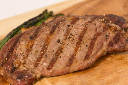 Image of cooked ribeye steaks in the 8oz Ribeye Steak Package.