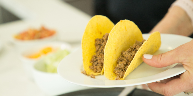 Image of Butcher's Blend Ground Beef in taco shells.